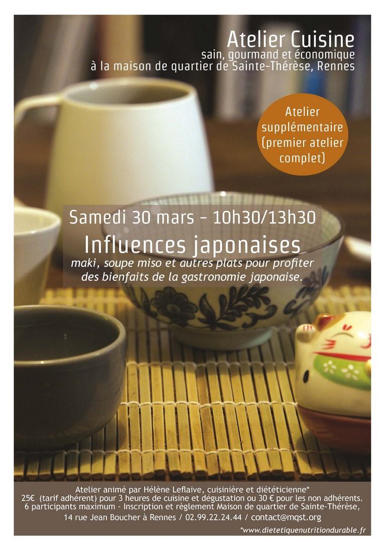 Atelier cuisine « Influences japonaises » – Samedi 30 mars de 10h30 à 13h30