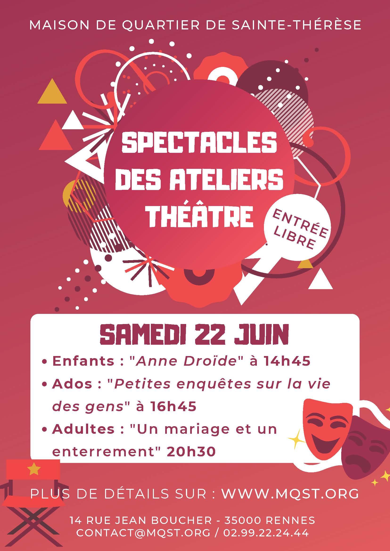 Spectacle des ateliers «Théâtre» – Samedi 22 juin